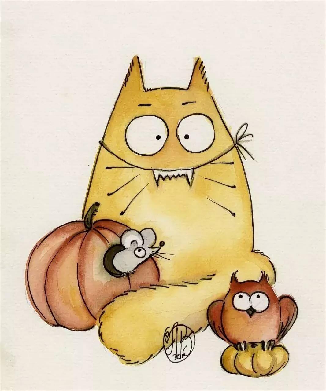Рисунки котов смешные для срисовки