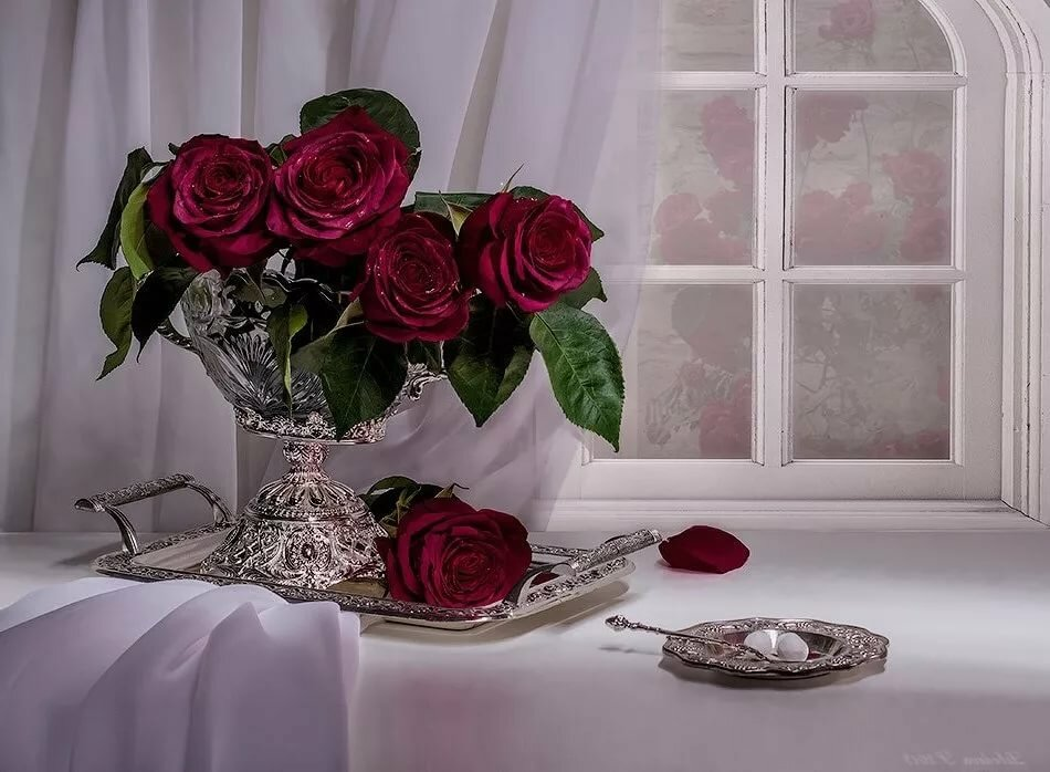 Добрый вечер картинки букет роз