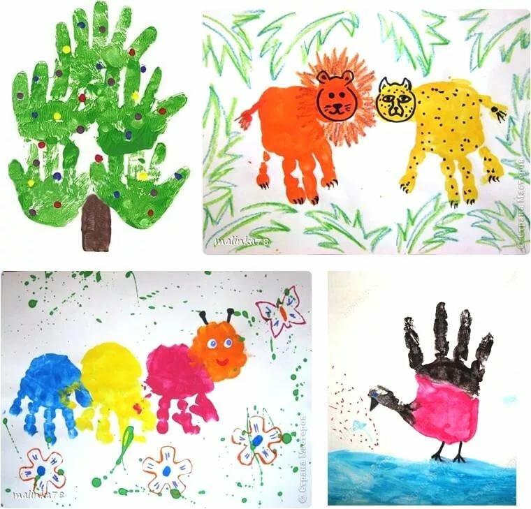 Картинки из детских ладошек красками, открытки день отца