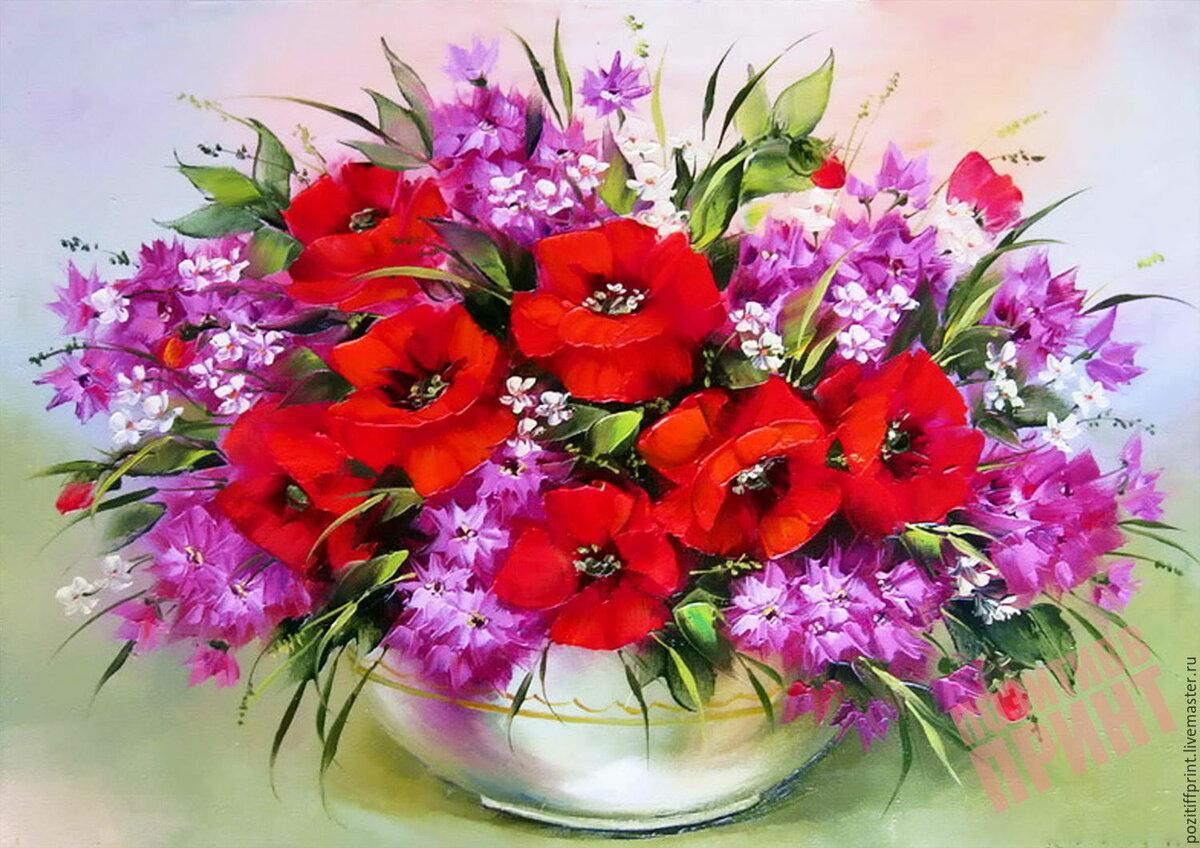 Красивые полевые цветы в букеты в открытке, красивые девочки нарисованные