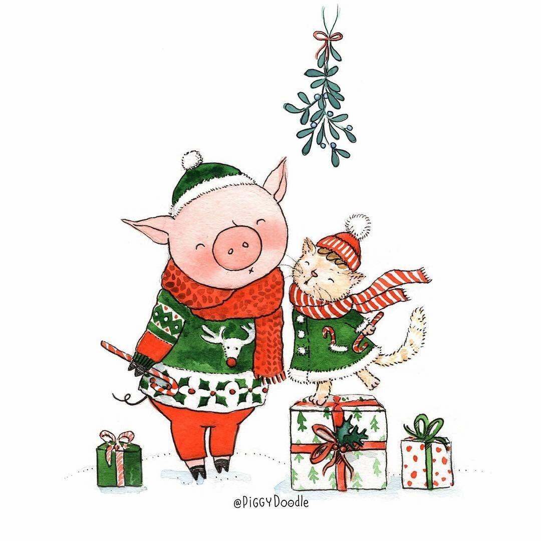 Стильные открытки с новым годом 2019 свиньи