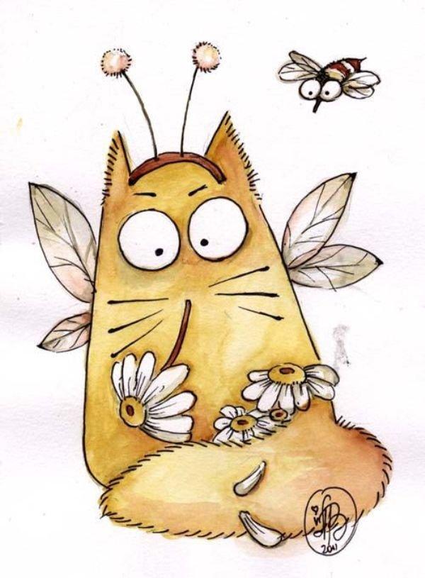 Кот рисунок смешные, ромашки