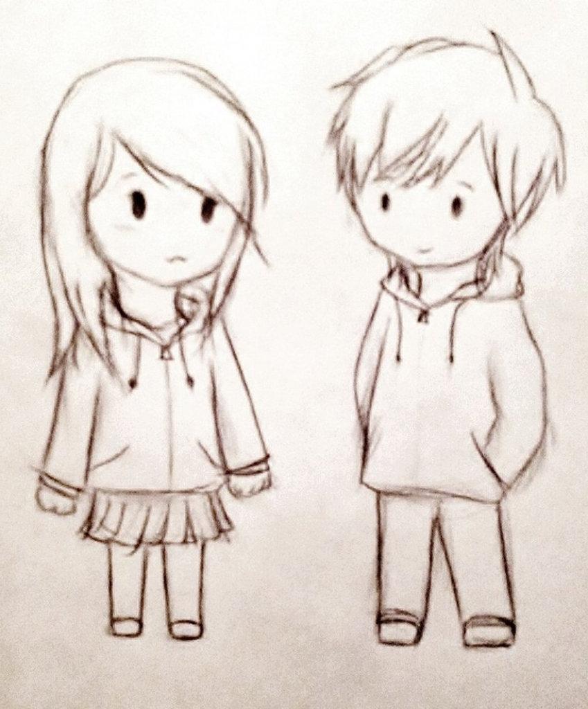 Картинка карандашом девочка с мальчиком