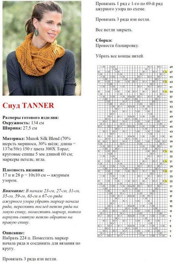 шарф хомут крючком схемы и описание фото других вариантов