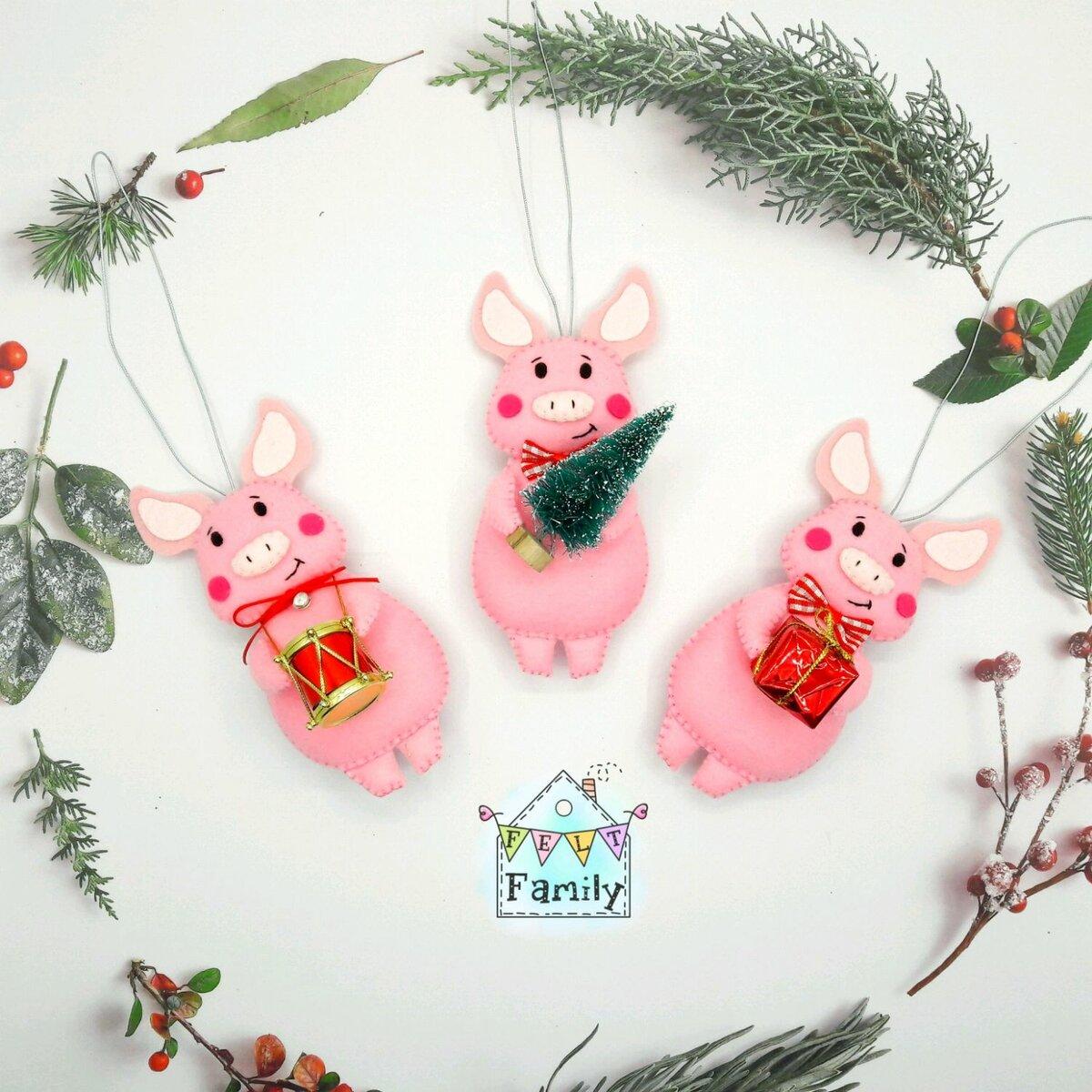 Днем рождения, новогодняя поделка открытка год свиньи
