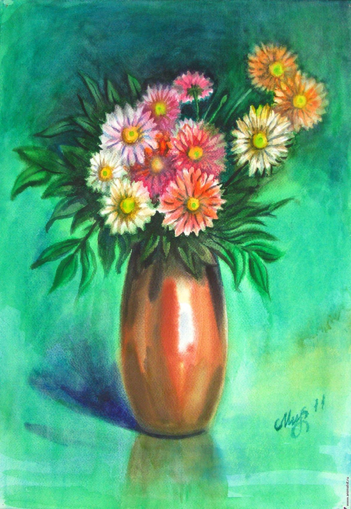 многом картинка ваза с цветами художника цветными карандашами парке центральной аллее
