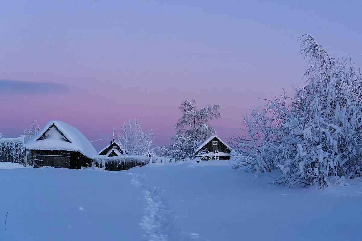Советская, картинки зимнего вечера в деревне