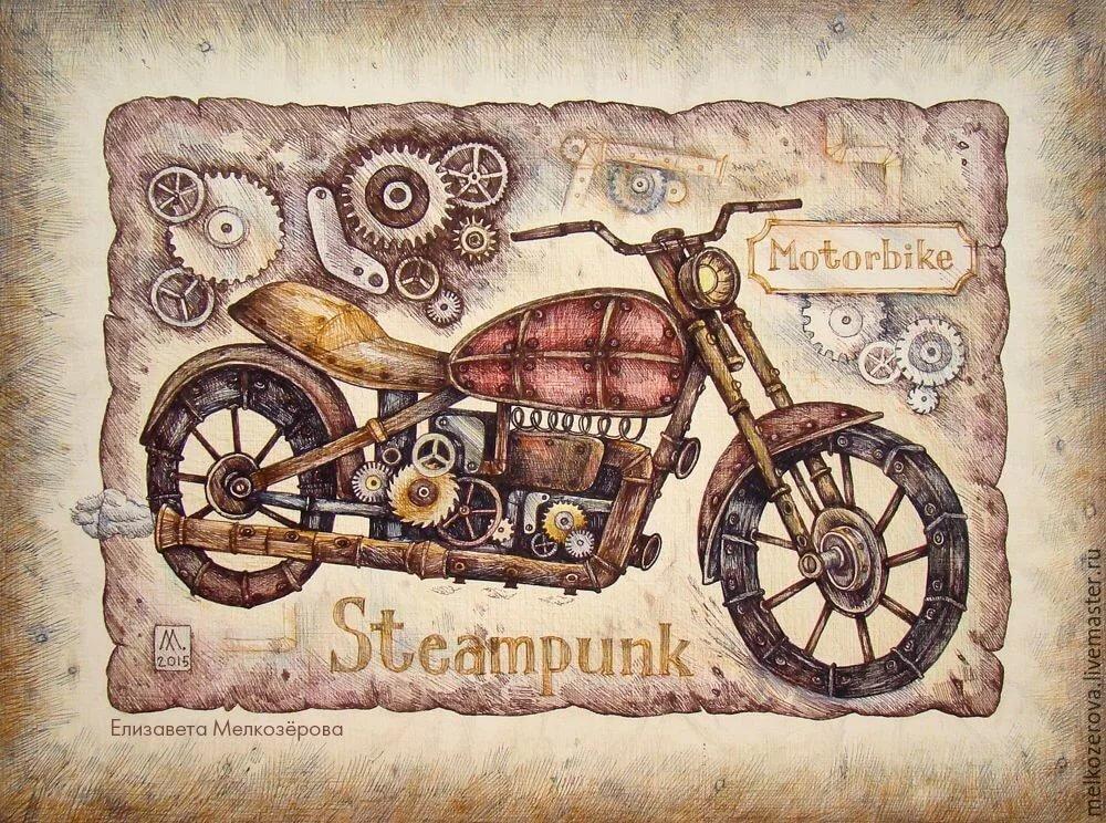 Картинки, почтовая открытка мотоцикл