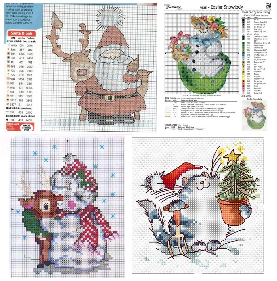 Схемы вышивки для открыток новый год