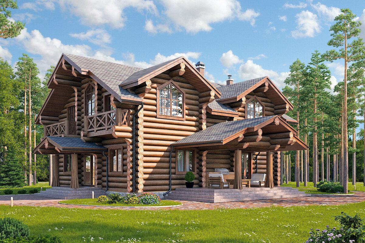 Картинки деревянных домов из бревен