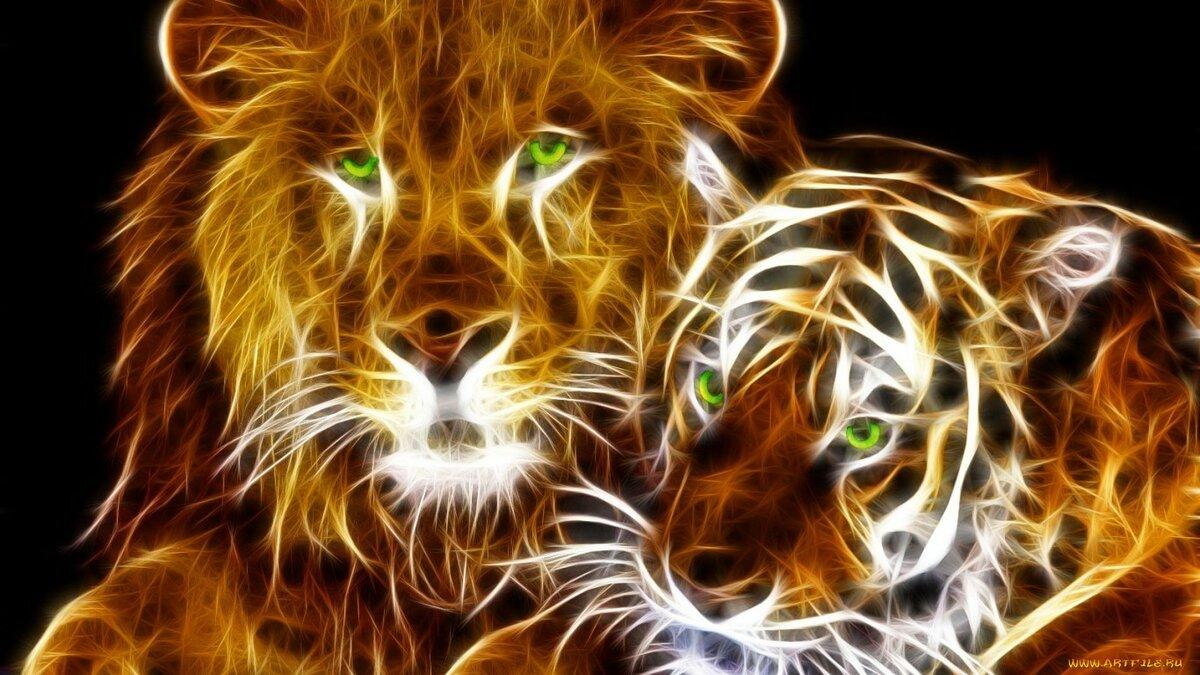 Целую, тигры и львы картинки