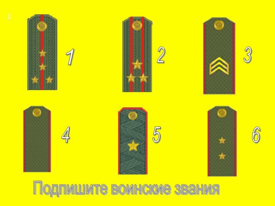 Звания и погоны в армии с картинками