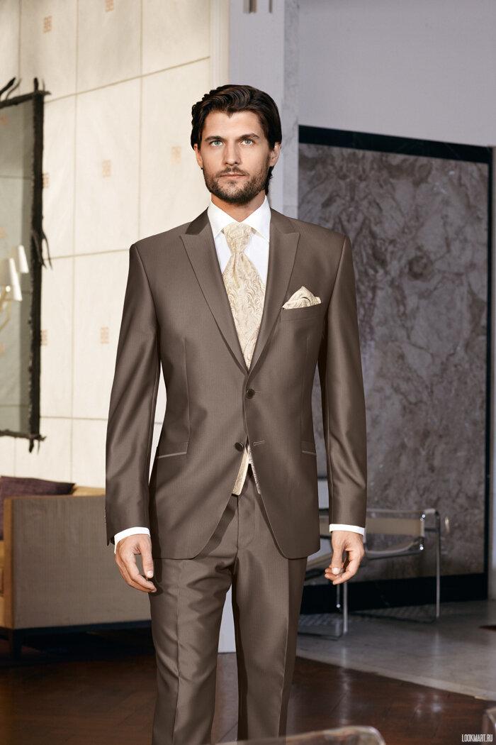 мужские костюмы коричневого цвета фото без бретелей, приталенного