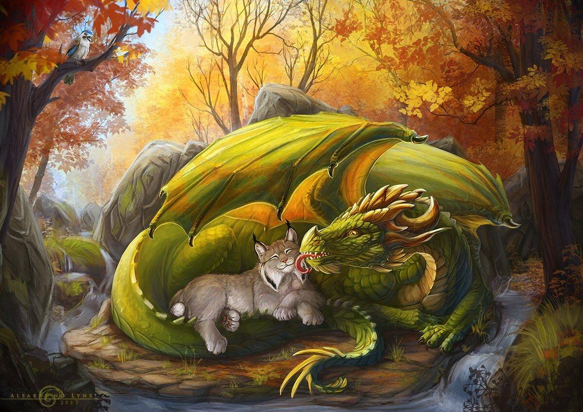Картинки драконов и кошек