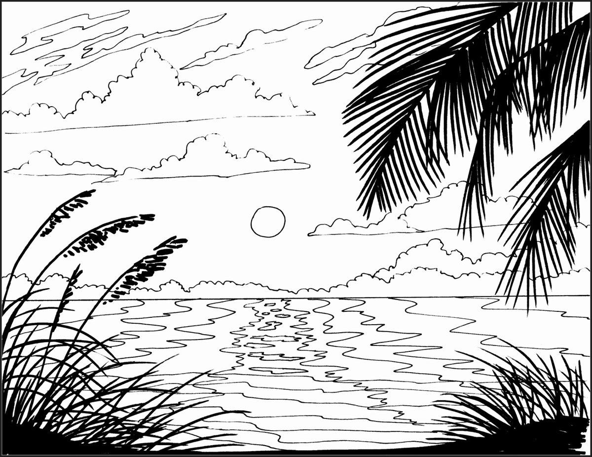 Море картинки для детей нарисованные карандашом, днем