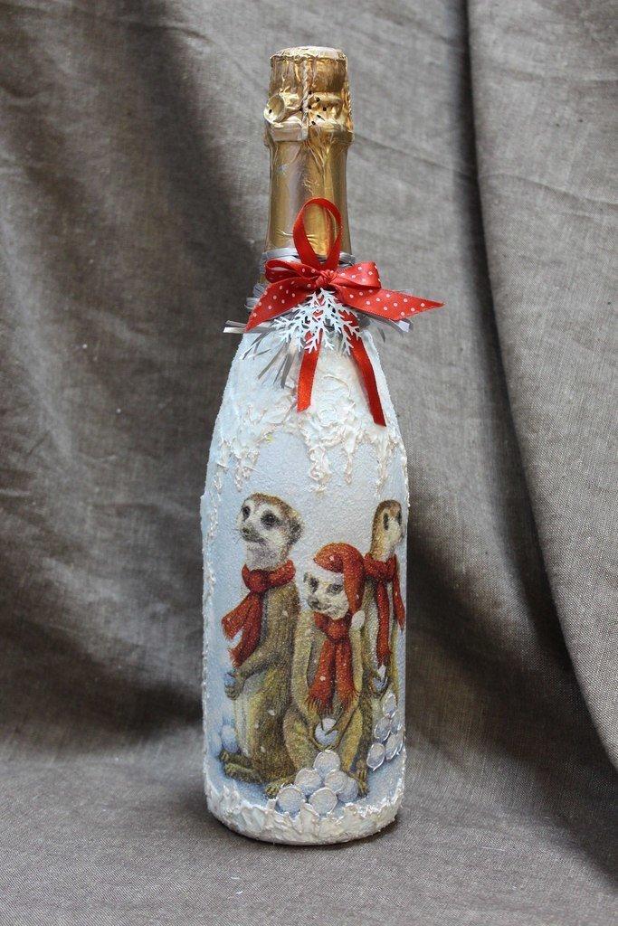 Декупаж новогодних бутылок шампанского фото