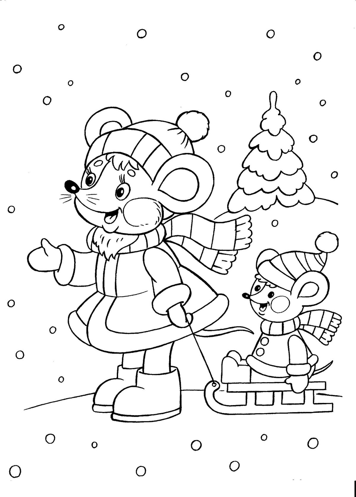 Раскраски новый год для детей 4-5 лет