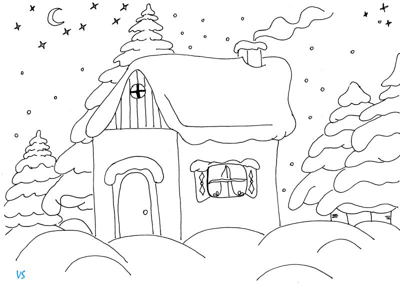 картинки разукрашки зимний пейзаж