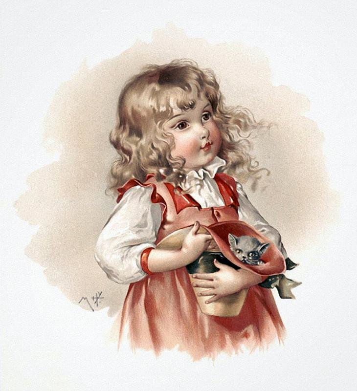 Поросенка, девочка старинная открытка
