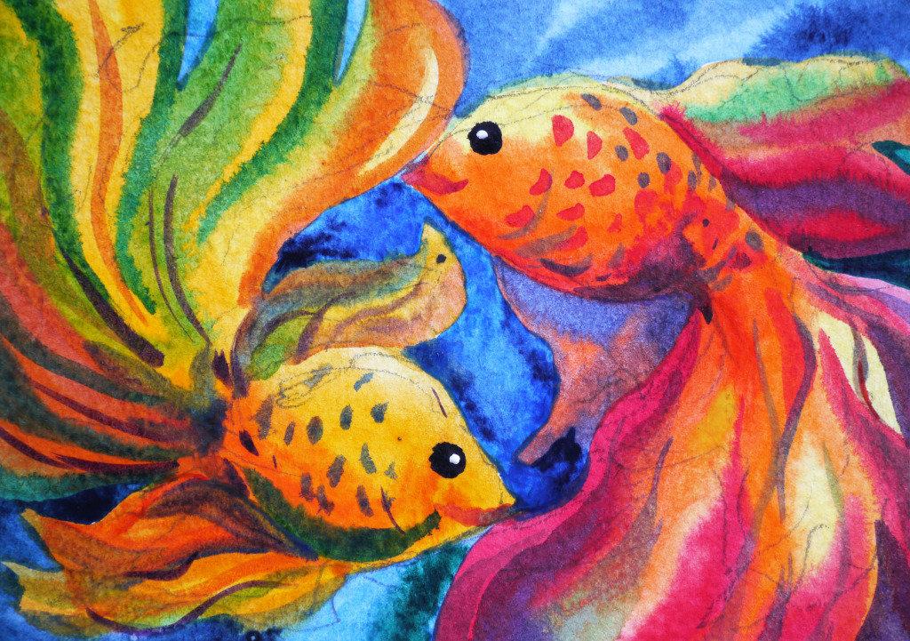семян рисунок рыб в аквариуме красками картинки