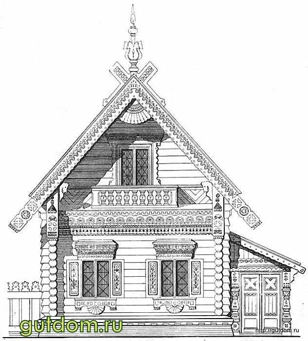 рисунок деревенский домик с узорами распущенные