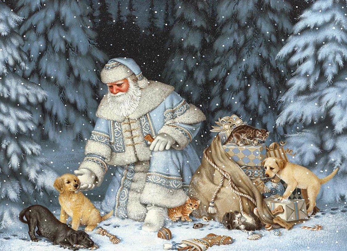 Днем, открытки с животными новому году