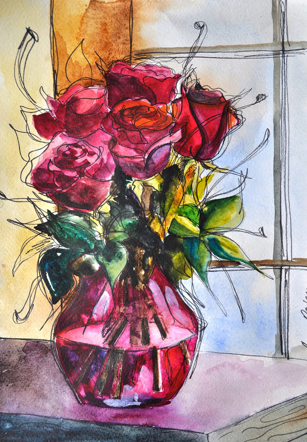 Букет из 15 роз акварелью поэтапно
