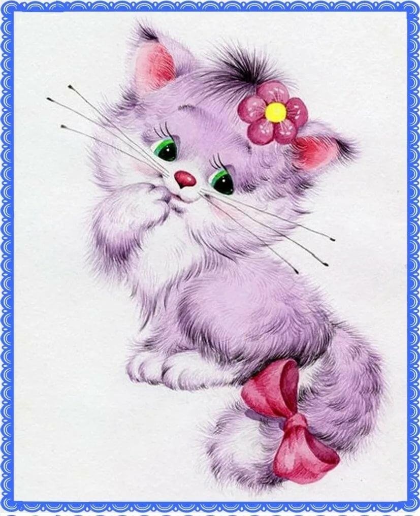 Картинки котят с бантиками для детей