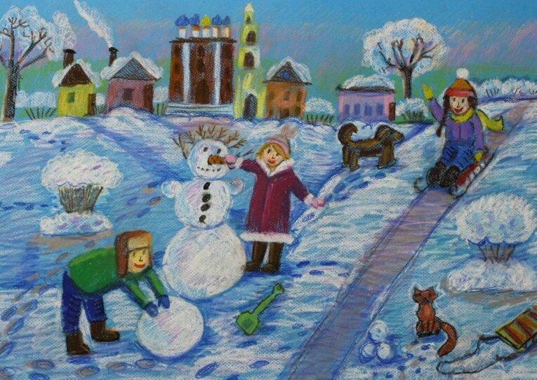 слышали рисунок зима зимние забавы блины, свернув