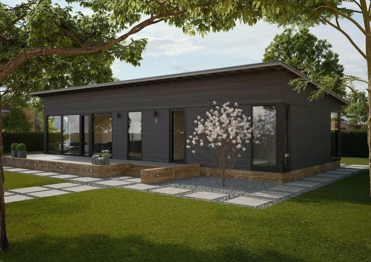 проекты одноэтажных домов с односкатной крышей