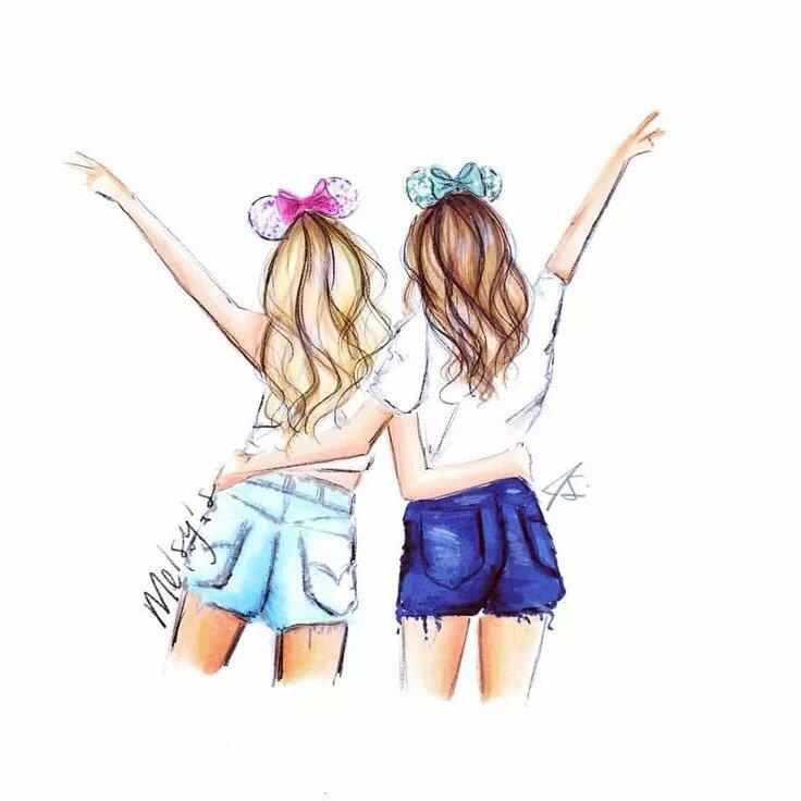 Картинки для срисовки две девочки подружки, картинки