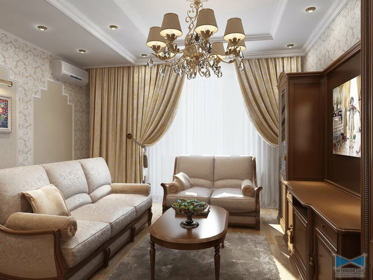 классический дизайн зала в квартире фото спокойной