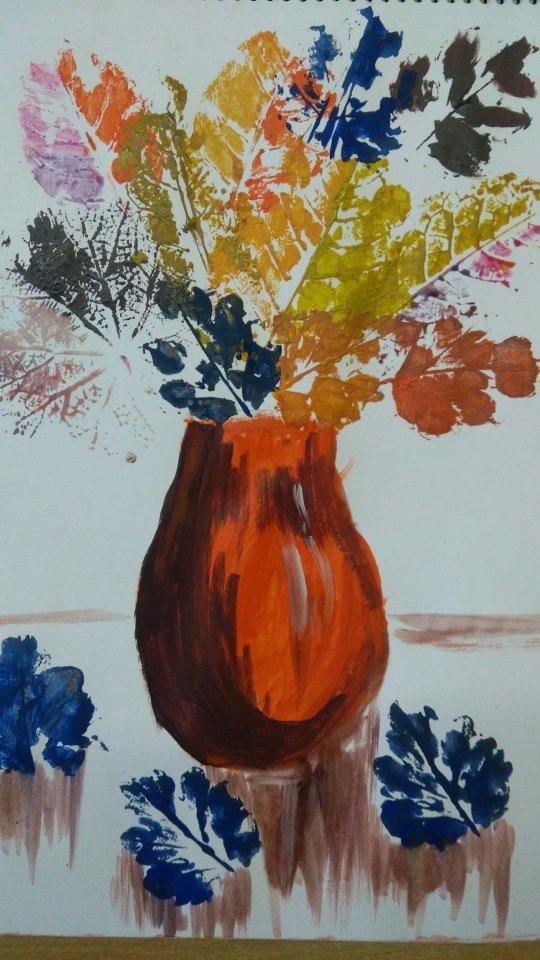 листья в вазе рисунок гуашью лары