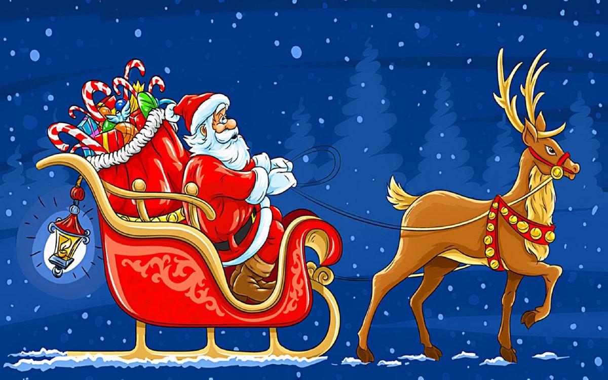 Новогодние картинки сани с оленями, открытка