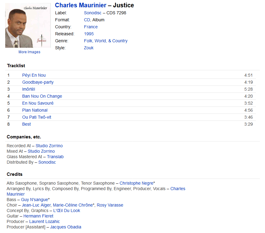 Charles Maurinier - Justice (CD, France, 1995)   Discogs S1200