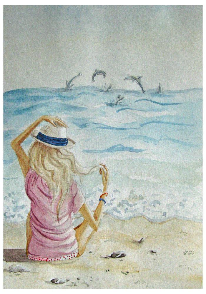 Месяцев девочка, картинки девушка у моря со спины карандашом
