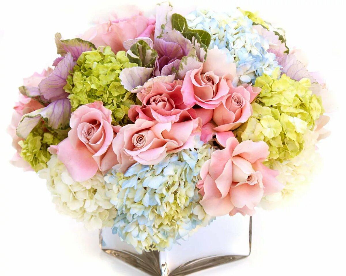 Картинка нежный букет цветов с днем рождения