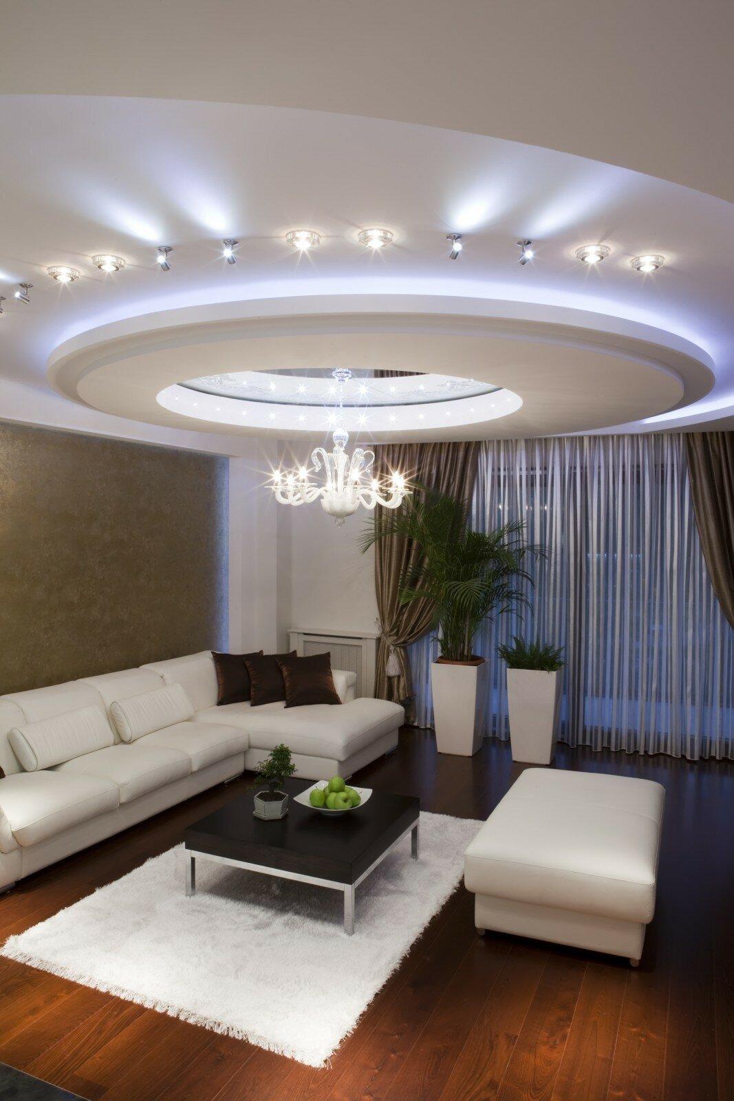 многоуровневые потолки из гипсокартона фото в зале бесплатно широкоформатные