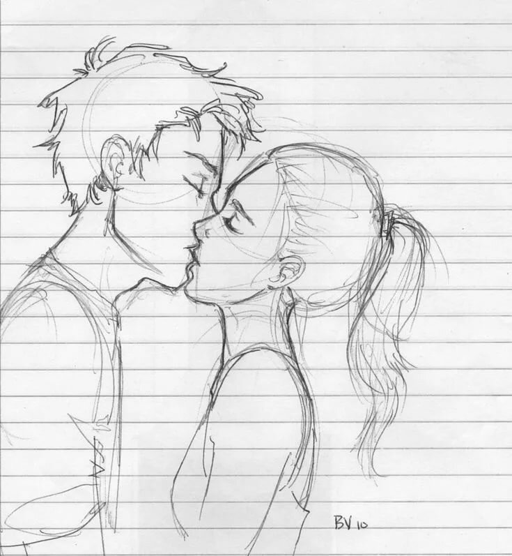 Нарисованные картинки парень с девушкой целуются