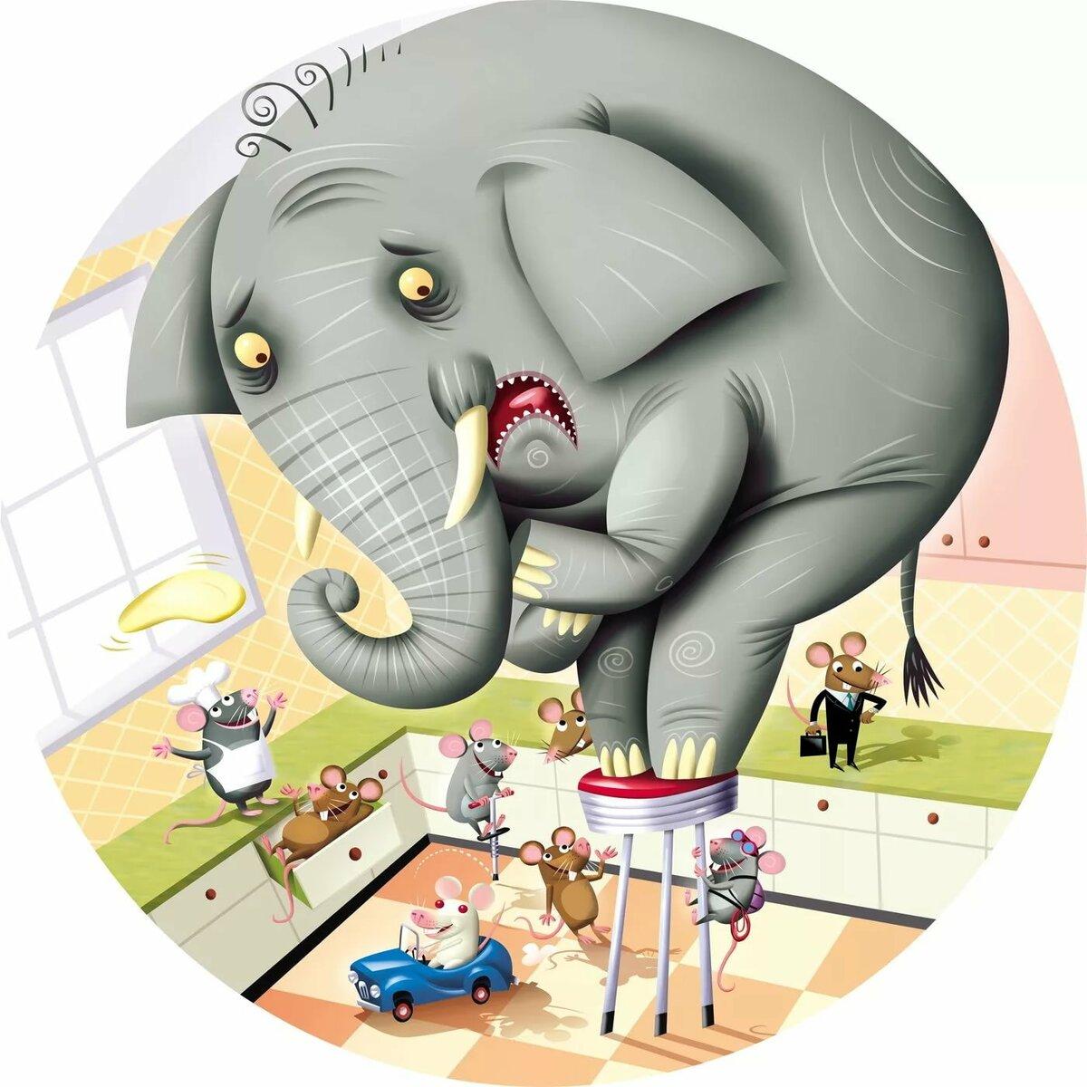 Найдите большого слона на маленькой картинке