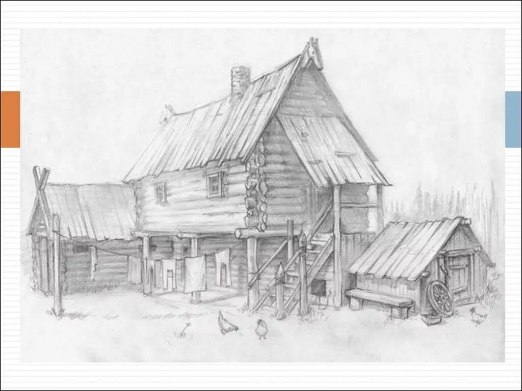 Картинки карандашом изба