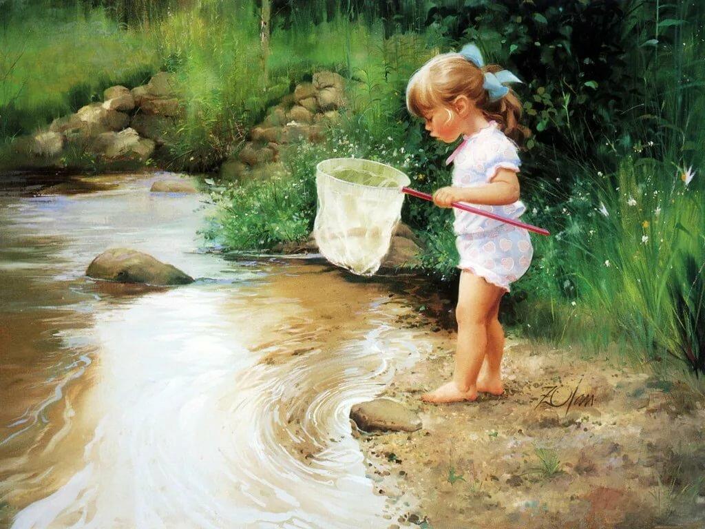 Вода и дети открытки