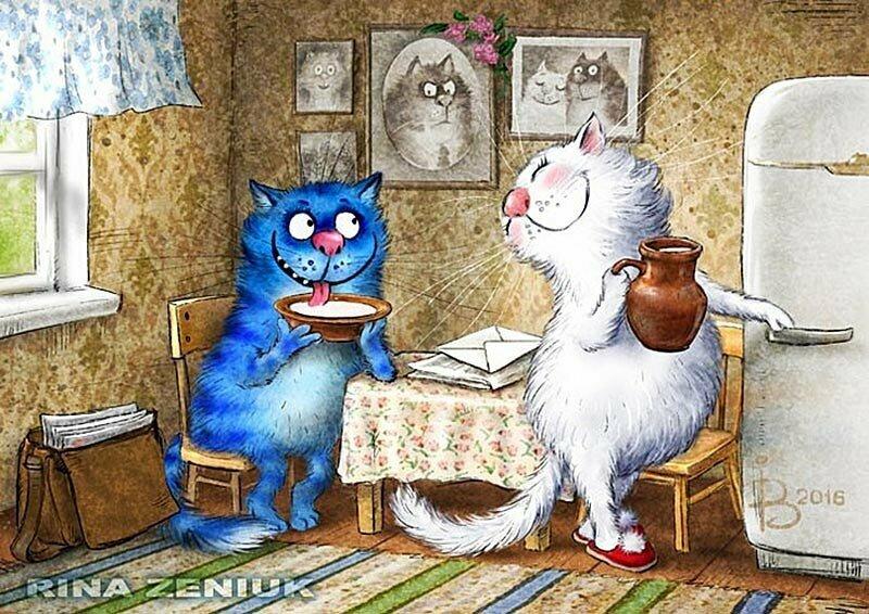 Картинки нарисованных котов с надписями