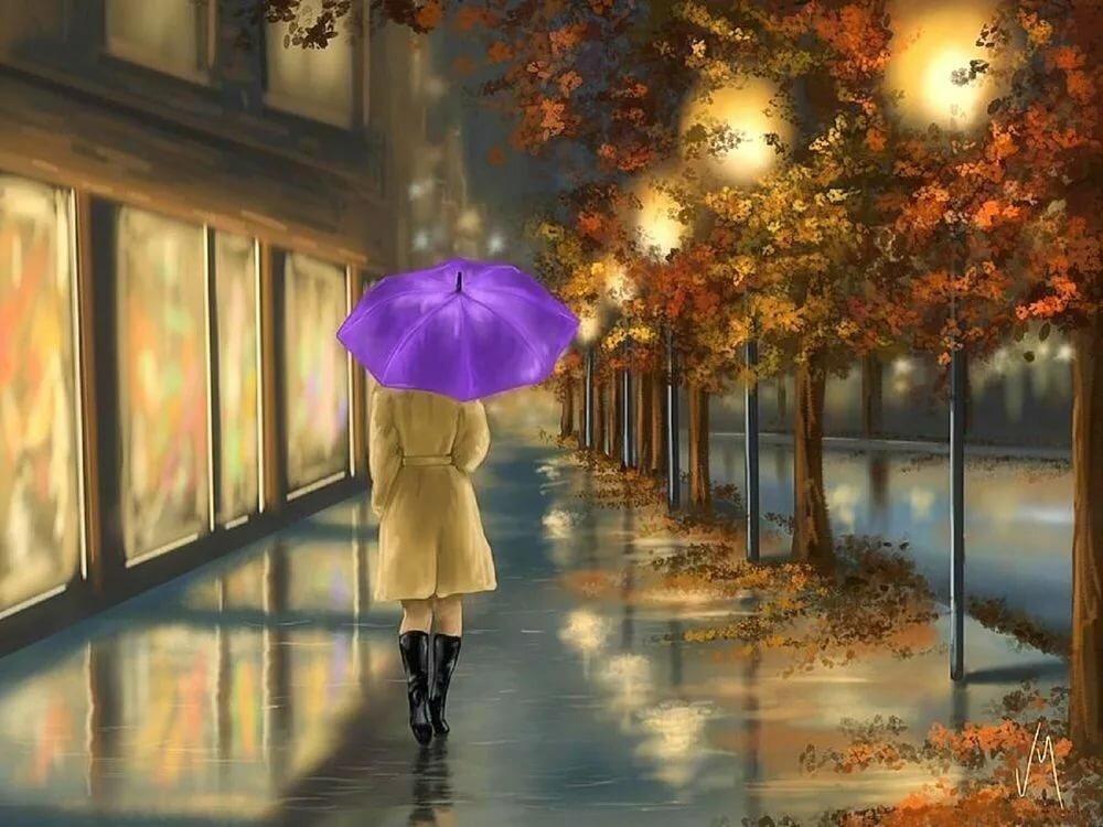 Девушка с зонтом картинки осень дождь