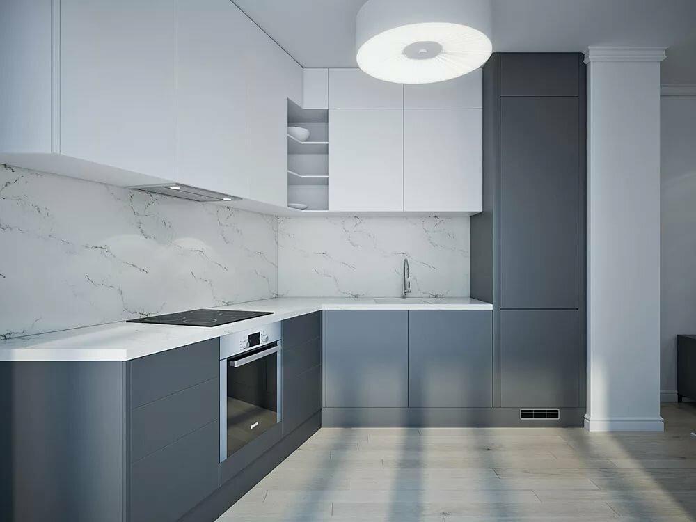 Кухня бело-серая картинки