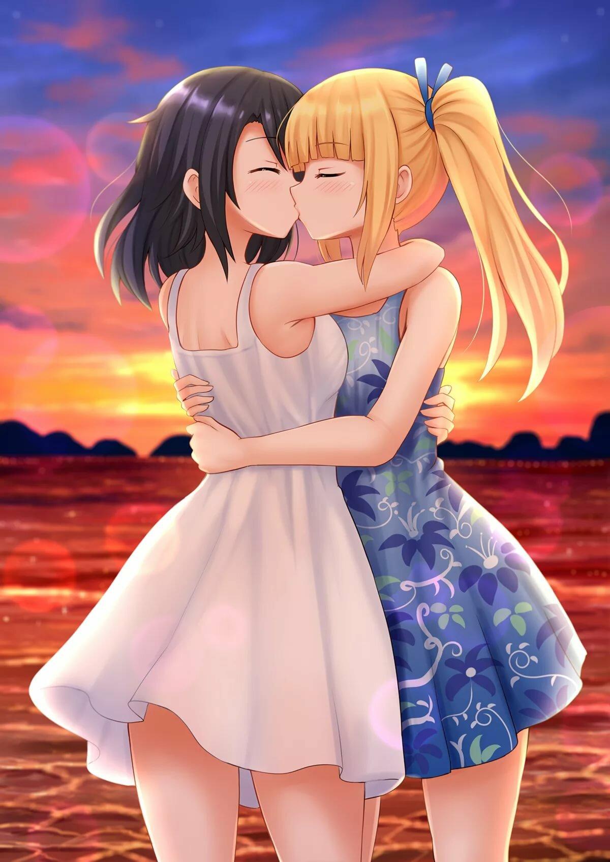 Картинки девушка целует девушку аниме