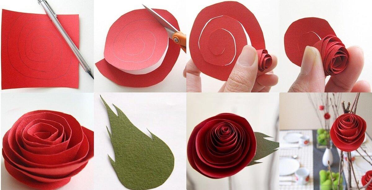сделать розу из бумаги своими руками фото важно проследить
