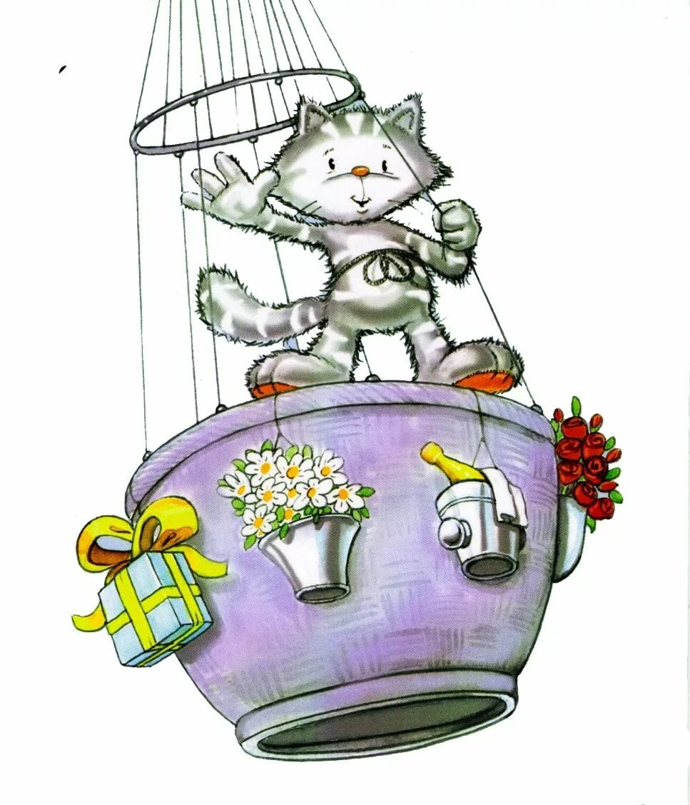 Картинки летающего кота для детей
