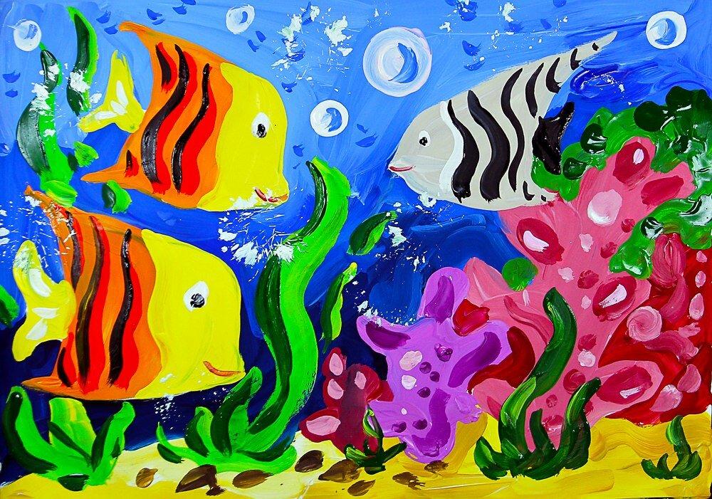 лиственных, рисунок подводное царство красками чистопородных