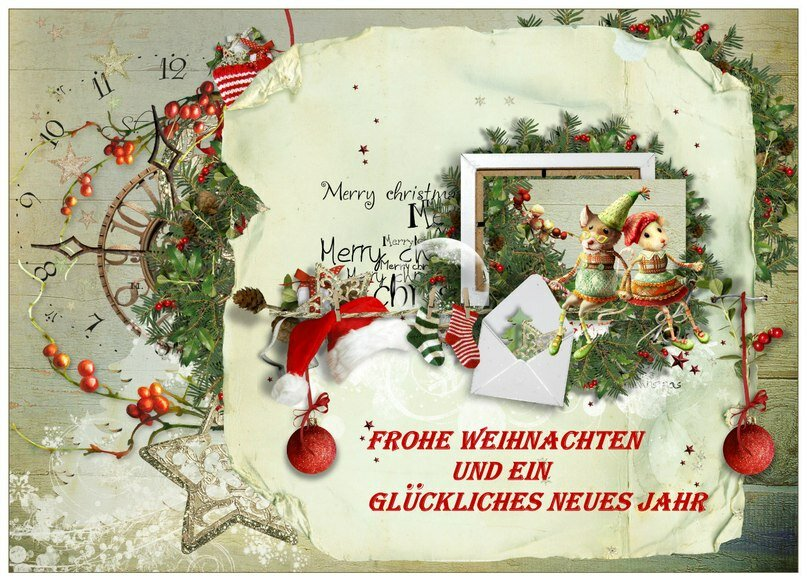 Открытка с немецким рождеством, днем